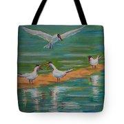 Terns On Sandbar Tote Bag