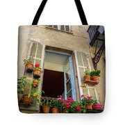 Terra Cotta Pots Outside Window In Old Town Nice, France Tote Bag