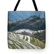 Terrace Fields Scenery In Spring Tote Bag