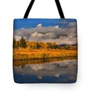 Teton Fall Foliage And Fog Tote Bag