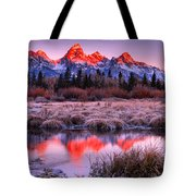 Teton Reflections In The Frosted Willows Tote Bag