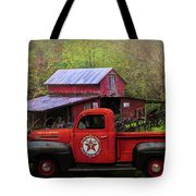 Texaco Truck On A Smoky Mountain Farm In Colorful Textures  Tote Bag