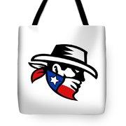 Texas Bandit Cowboy Side Retro Tote Bag