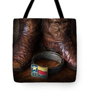 Texas Boots And Belt Buckle Tote Bag