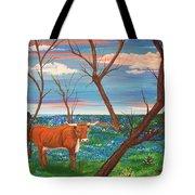 Texas Cow's Blulebonnet Field Tote Bag