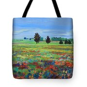 Texas Landscape Bluebonnet Indian Paintbrush Explosion Tote Bag