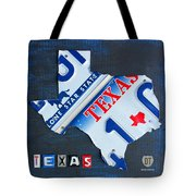 Texas License Plate Map Tote Bag