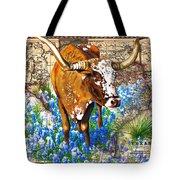 Texas Longhorn In Bluebonnets Tote Bag