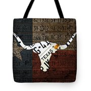 Texas Longhorn Recycled Vintage License Plate Art On Lone Star State Flag Wood Background Tote Bag