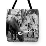Texas Longhorn Steer In Black And White Tote Bag