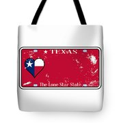 Texas State License Plate With Damage Tote Bag