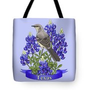 Texas State Mockingbird And Bluebonnet Flower Tote Bag by Crista Forest