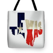 Texas Typography Map Flag Tote Bag