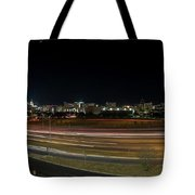 Texas University Tower And Downtown Austin Skyline From Ih35 Tote Bag