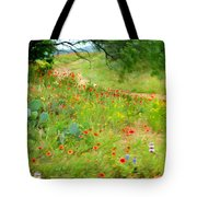 Texas Wildflowers And Cactus - Country Road Tote Bag