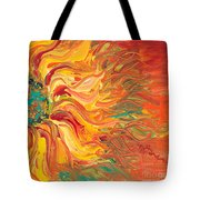 Textured Fire Sunflower Tote Bag
