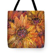 Textured Gold And Red Sunflowers Tote Bag