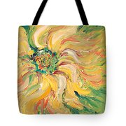 Textured Green Sunflower Tote Bag