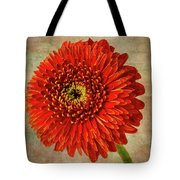 Textured Red Daisy Tote Bag