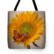 Textured Sunflower With Butterfly Tote Bag