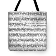 Thanksgiving Proclamation Tote Bag by Granger