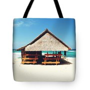 Thatched Roof Cottage/shack On A Perfect White Sand Tropical Beach Bali, Indonesia Tote Bag