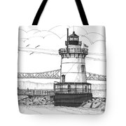 The 1883 Lighthouse At Sleepy Hollow Tote Bag by Richard Wambach