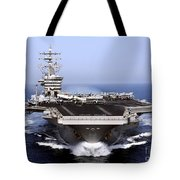 The Aircraft Carrier Uss Dwight D Tote Bag by Stocktrek Images