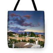 The Alhambra Palace And Albaicin At Sunset Tote Bag