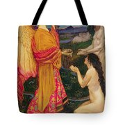 The Angel Offering The Fruits Of The Garden Of Eden To Adam And Eve Tote Bag