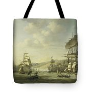 The Anglo Dutch Fleet In The Bay Of Algier Tote Bag