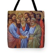 The Arrival Of The Apostles To The Virgin Fragment 1311 Tote Bag