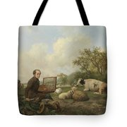 The Artist Painting A Cow In A Meadow, 1850 Tote Bag