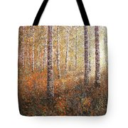The Autumn Sun In The Birch Forest Tote Bag
