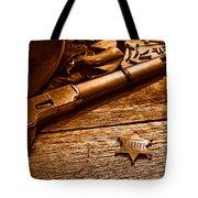 The Badge - Sepia Tote Bag