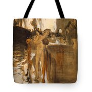 The Balcony, Spain Two Nude Bathers Standing On A Wharf Tote Bag