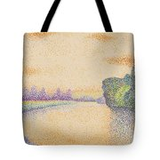 The Banks Of The Marne At Dawn 1888 Tote Bag