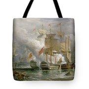 The Battle Of Cape St Vincent Tote Bag by Richard Bridges Beechey