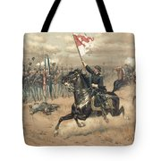 The Battle Of Cedar Creek Virginia Tote Bag by Thure de Thulstrup