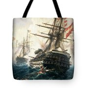 The Battle Of Lissa Tote Bag by Constantin Volonakis