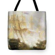 The Battle Of Trafalgar Tote Bag by John Christian Schetky