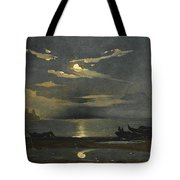 The Bay Of Naples By Moonlight With The Castel Dell'ovo Beyond Tote Bag