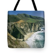 The Beach And Shoreline Along Highway 1 Tote Bag