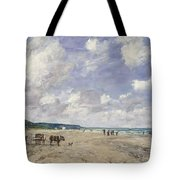 The Beach At Tourgeville Tote Bag by Eugene Louis Boudin