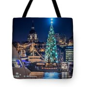 The Beautiful, Freshly Renovated Katarina Church And The Gigantic Christmas Tree In Stockholm Tote Bag