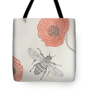 The Bee And Red Poppies  Tote Bag