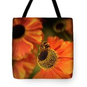The Bee And The Helenium Tote Bag
