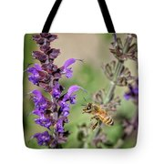The Bee And The Laveder Tote Bag