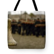 The Bell Is Present On The Beach Tote Bag by Stocktrek Images