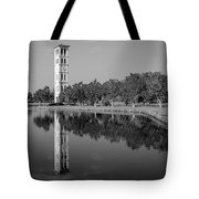 The Bell Tower Reflections B W Furman University Greenville South Carolina Art Tote Bag